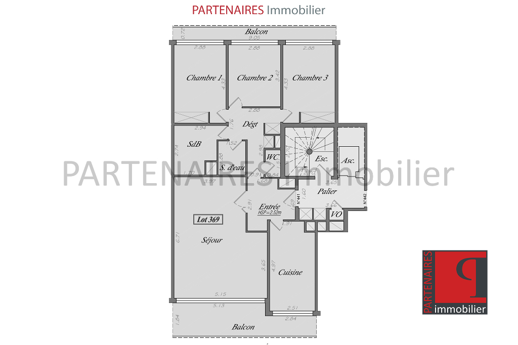 Appartement 3 chambres 101.5 m2 6/9